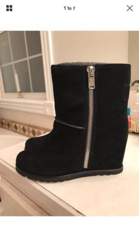 348 womens harper black suede snow boots