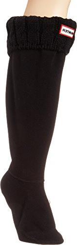 Hunter Women's 6 Stitch Boot Sock, Black, Medium