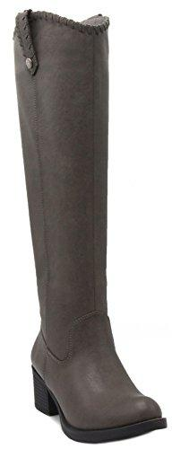 Rampage Womens Italie Riding Boot 7.5 Grey Whipstitch