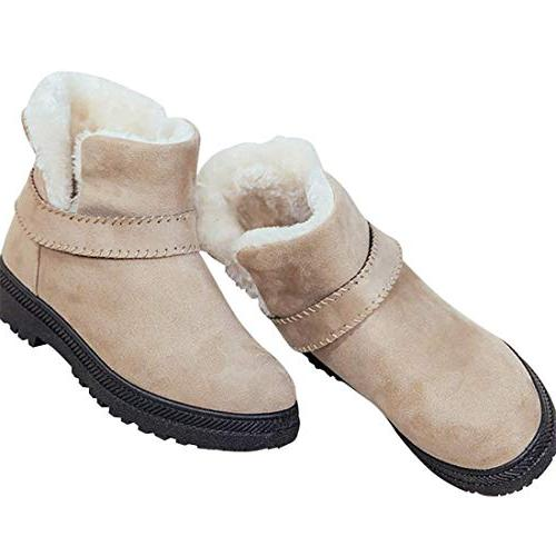 ankle snow boots slip fur