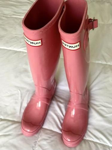 Authentic Hunter Tall Pink Gloss Snow US / 4