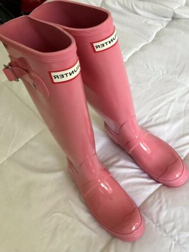 authentic tall pink gloss rain snow boots