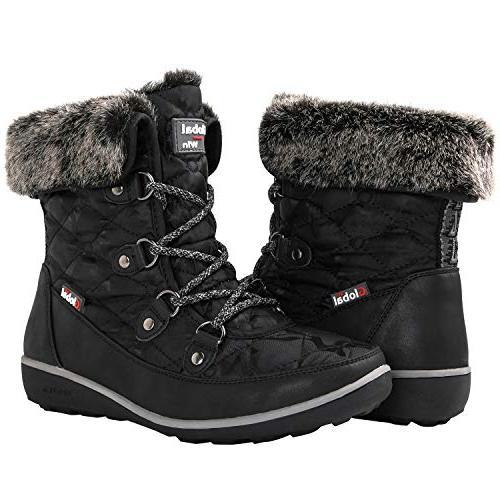 black winter snow boots