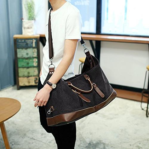 Fresion Canvas Leather Portable Overnight Bag Size