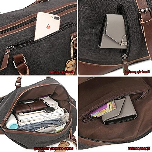 Fresion Canvas Leather Outdoor Portable Handbag Overnight with Large Size