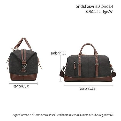 Fresion Canvas Leather Portable Handbag Overnight Bag Large Size