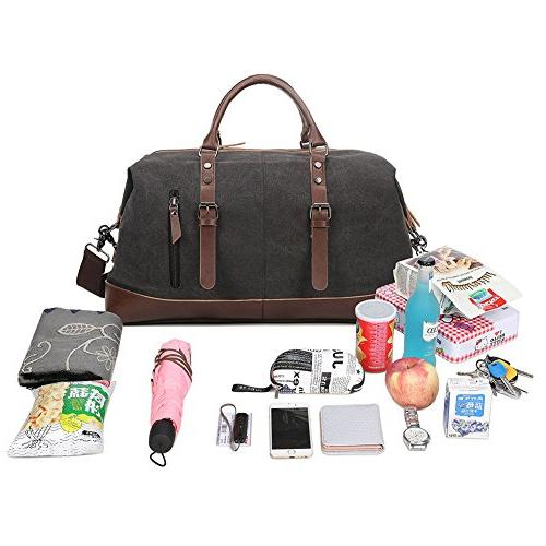 Fresion Canvas Leather Portable Overnight Bag with