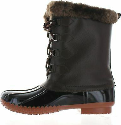 FOREVER Women's Comfy Faux Fur Collar Up Snow Boots