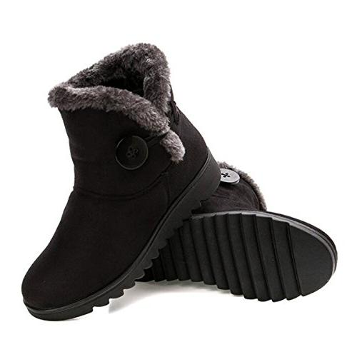 Fur Lined Womens Boots Button on Booties