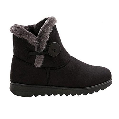 Fur Lined Womens Boots Button