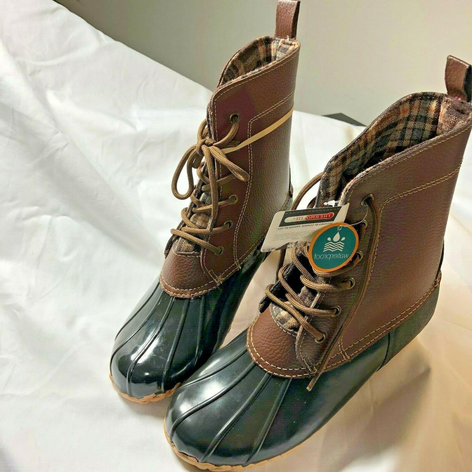 jessica women snow duck boots brown leather