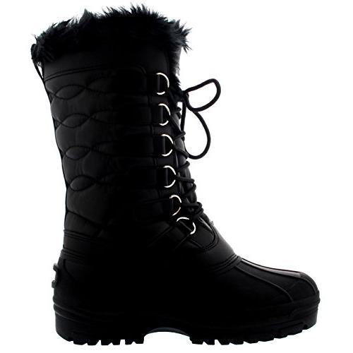 Polar Womens Calf Thermal Rain Fur Nylon Boot - Black US9/EU40 -