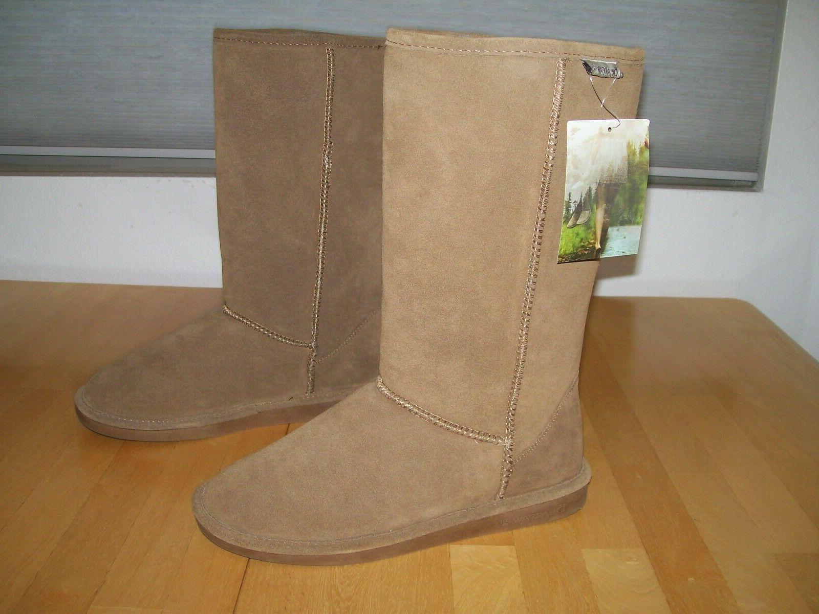 New Elle Tall Suede Snow Boots Hickory Womens 10