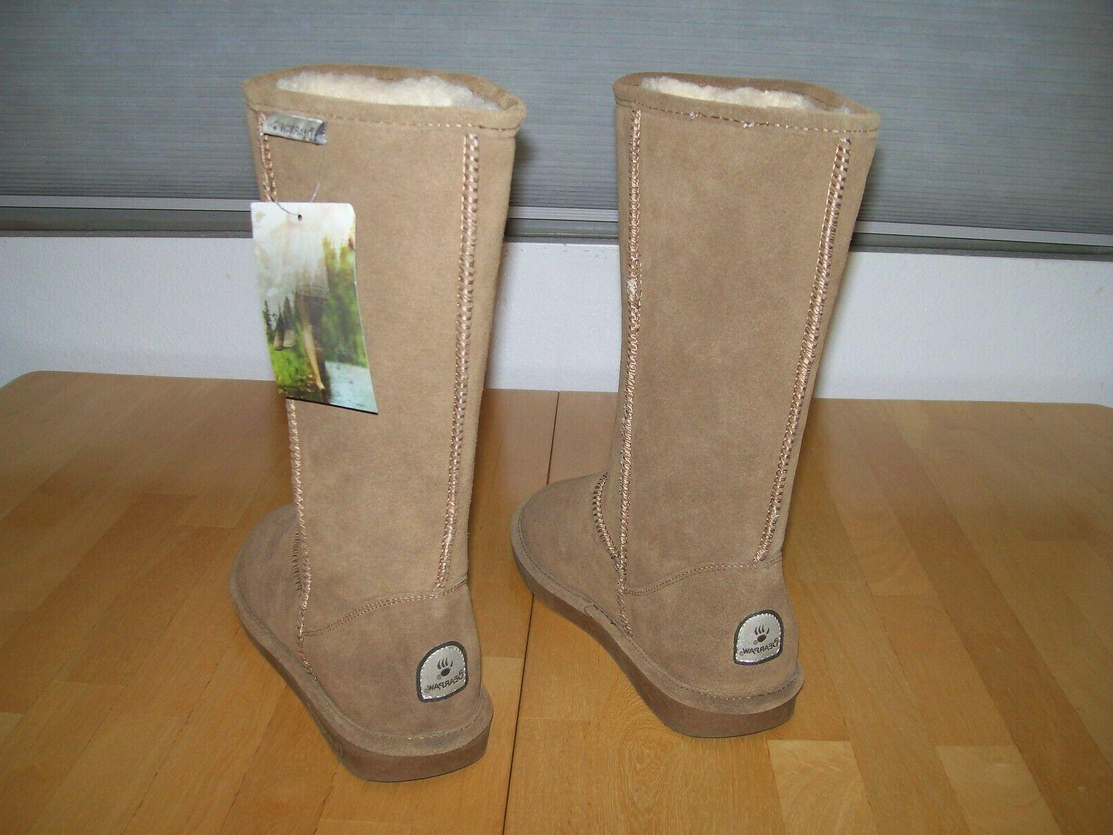 New Bearpaw Elle Knee Tall Suede Snow Boots Hickory Brown Wo