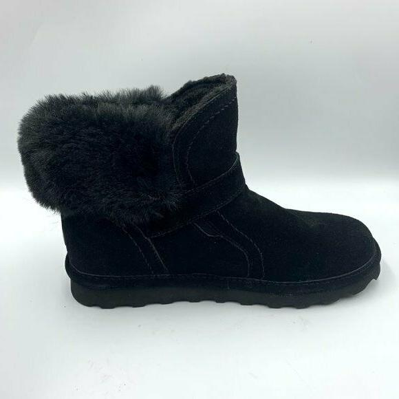 Bearpaw 8M Black Shearling Lined Suede