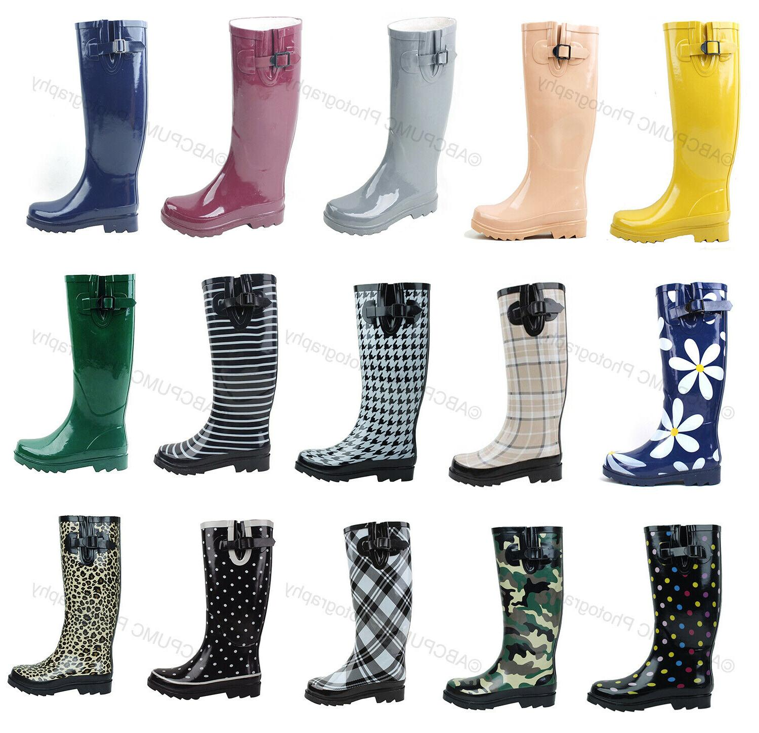 new womens flat wellies mid calf rubber