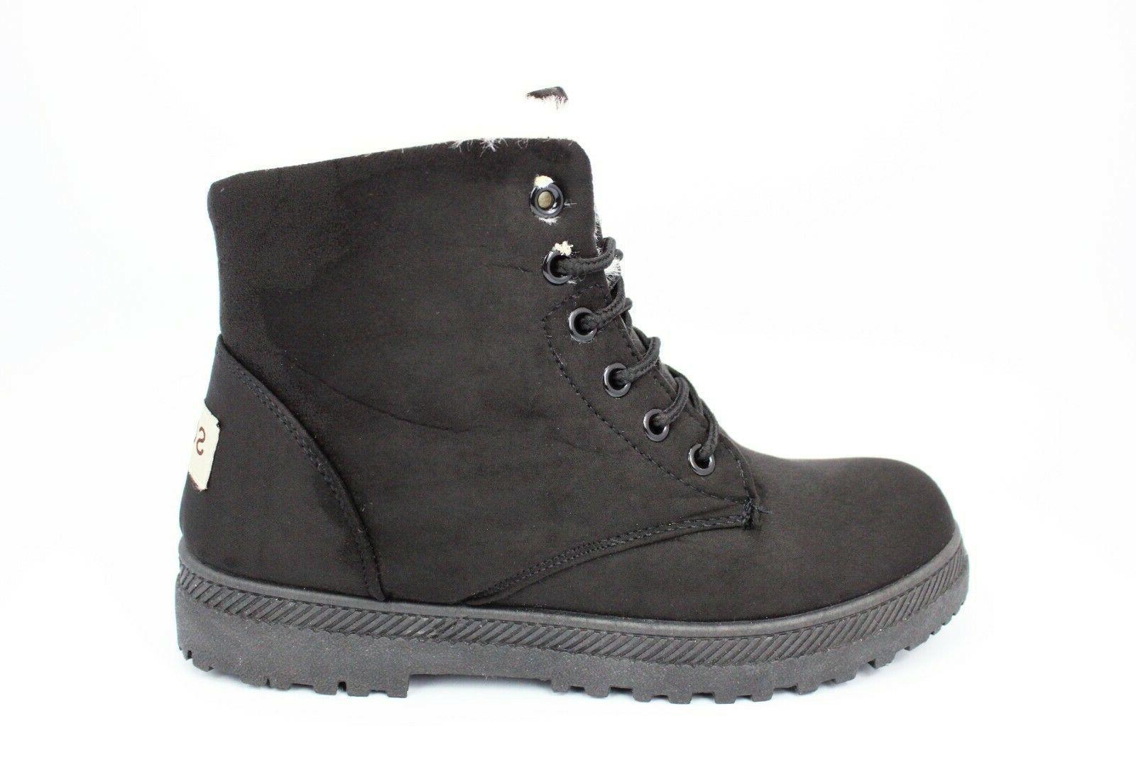 NOT100 Waterproof Snow Boots Warm Comfy Combat Booties,