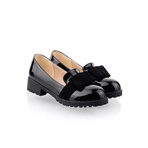 round toe patent leather slip