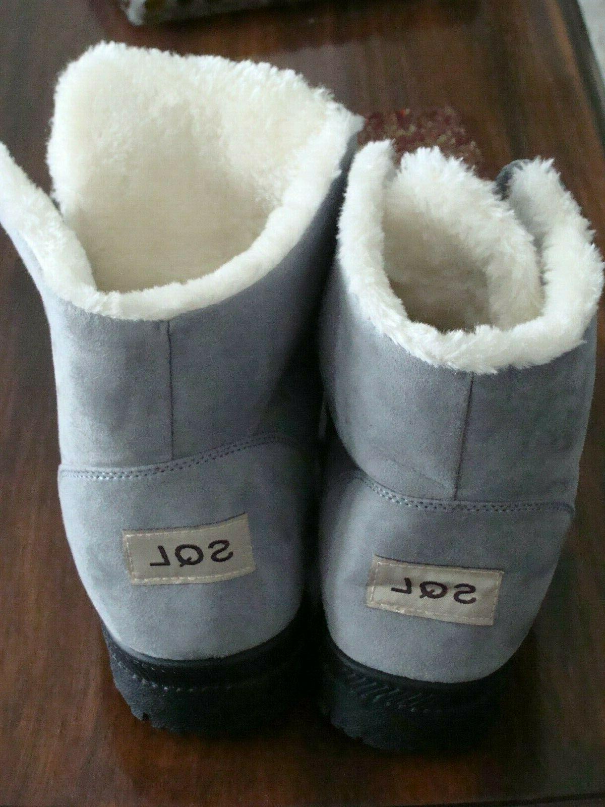 SHIBEVER Winter Platform Snow Ankle Lace SIZE