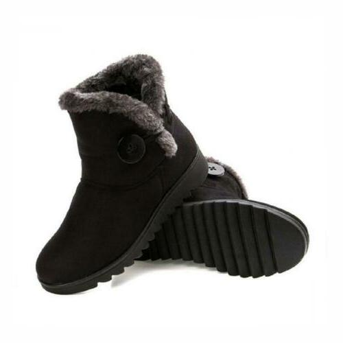 Slduv7 Lined Womens Snow Button Pull On Ankle Booties Shoes
