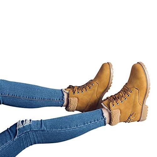 Susanny Women's Boots Short Combat Boot on Fur Booties