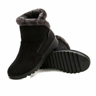 Slduv Snow Boots Fur Lined Zipper Booties