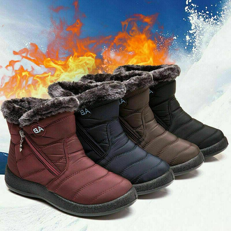 Womens Waterproof Fur Lined Snow Ankle Boots Ladies Winter W