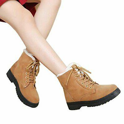 SHIBEVER Boots Women Platform Cotton Fur Snow Ankle Lace 9