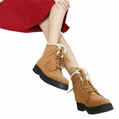 SHIBEVER Winter Boots for Women Fur Lace 9