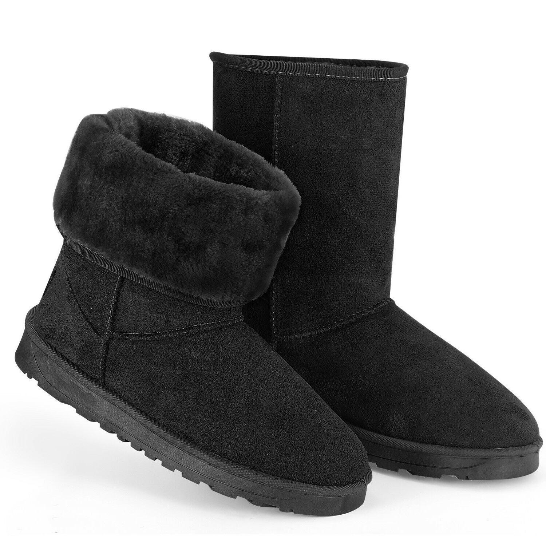 Women Winter Warm Boots Faux Fur Suede Mid-Calf  Snow Fashio