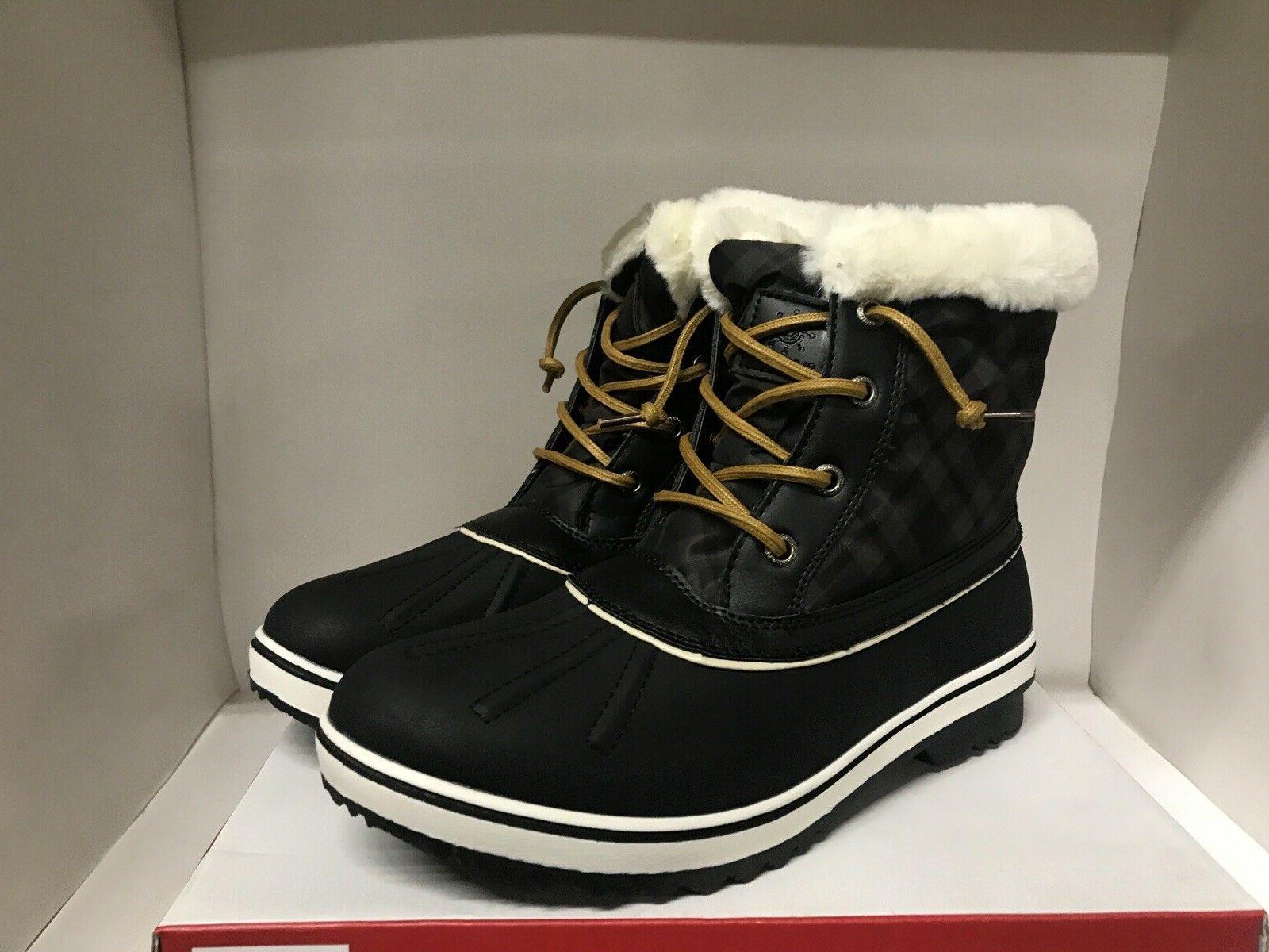 winter fur lined snow boots black women