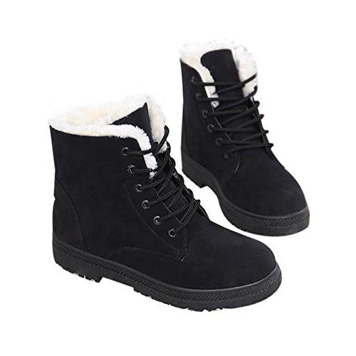 SHIBEVER Winter Lace Snow Ankle Boots