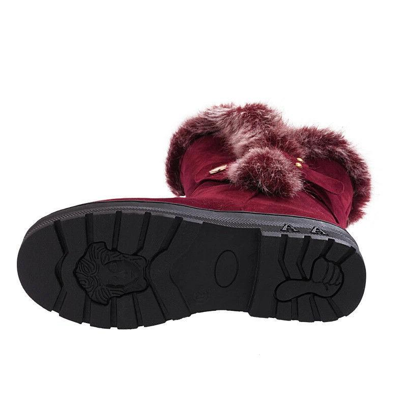 Winter Women Ladies Boots Fashion Fur Buckle Mid Calf Shoes