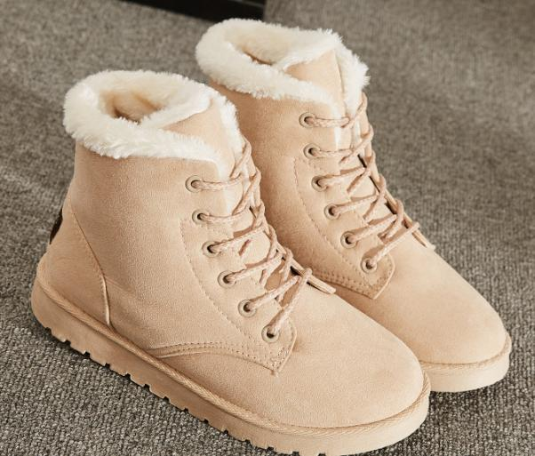 Winter Up Fur Lined Boots Ankle Warm Shoes