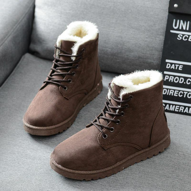 Winter Flat Lace Boots Snow Warm Shoes