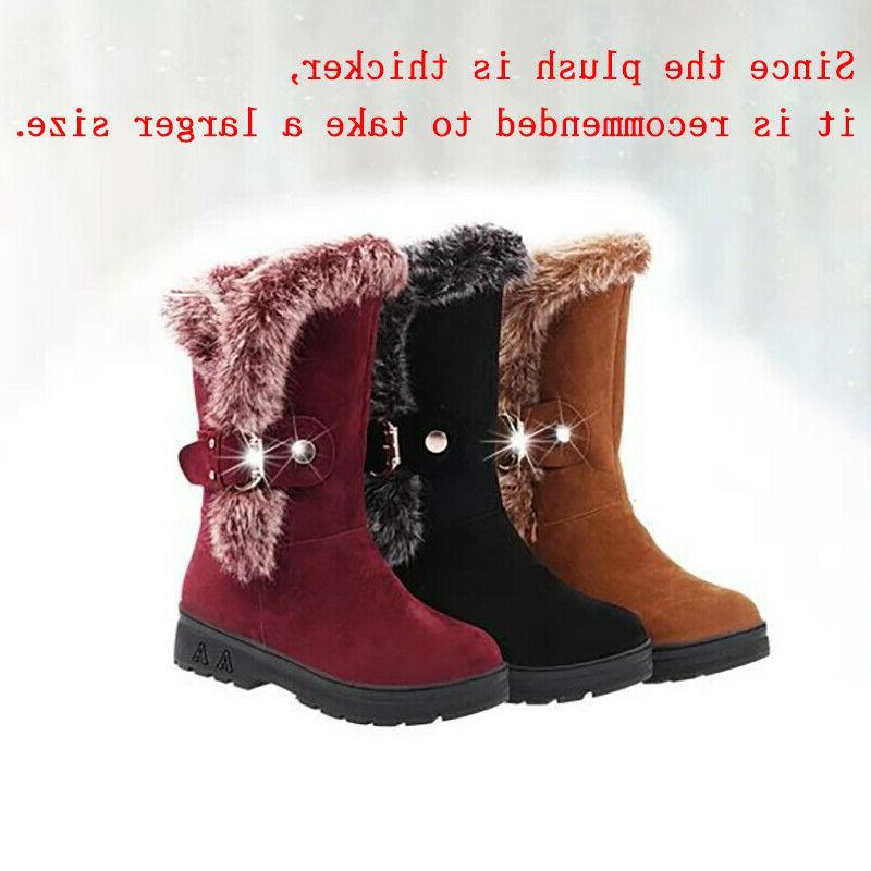 Winter Ladies Boots Fashion Fur Buckle Casual