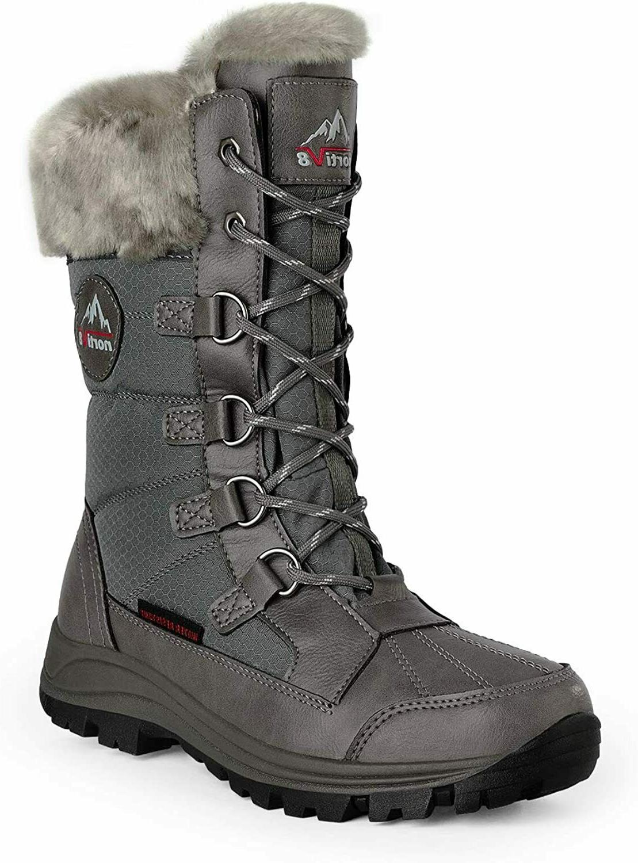 women insulated waterproof snow boots warm faux