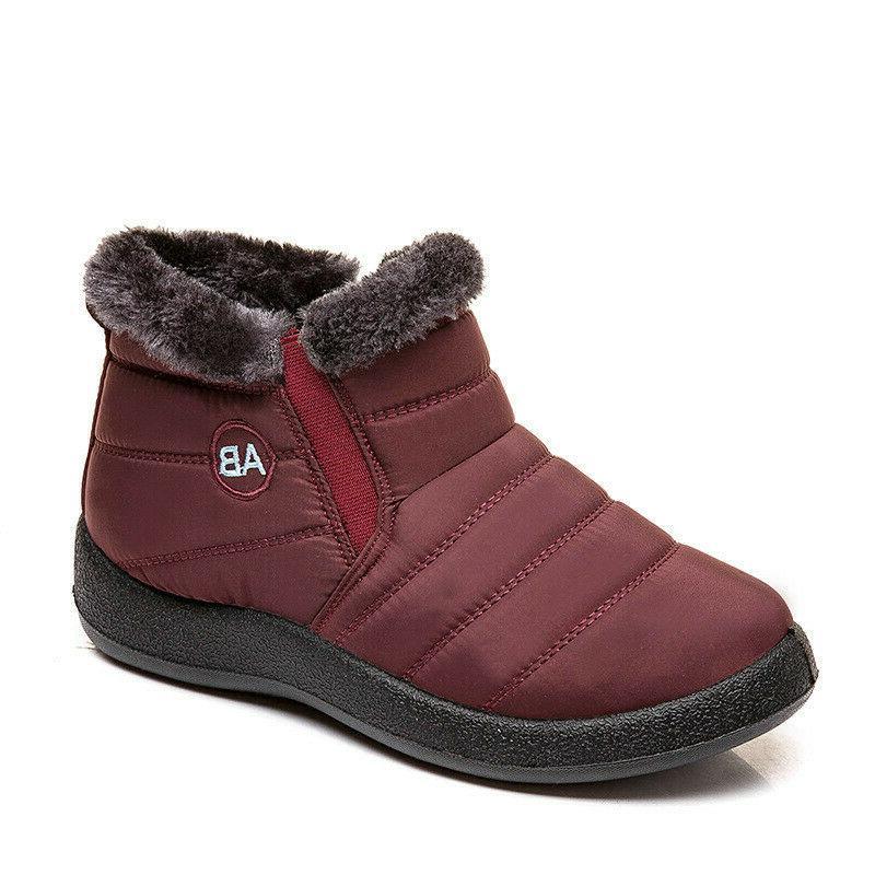 Women Men Winter Warm Shoes Snow Boots Slip On Waterproof