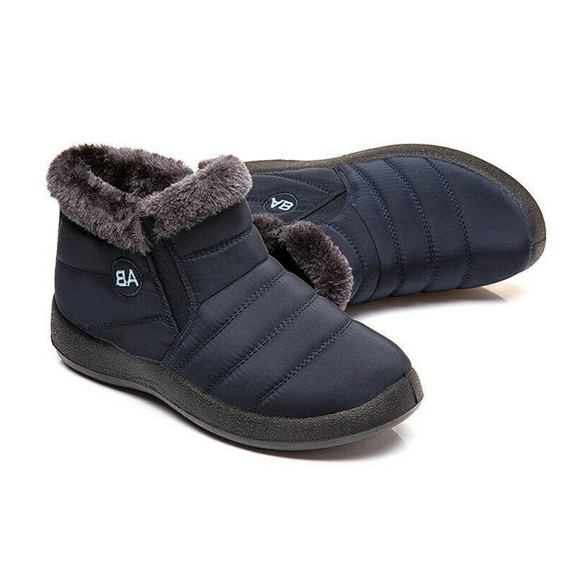 Women Men Winter Shoes Fur-lined Slip On Ankle Shoes Waterproof