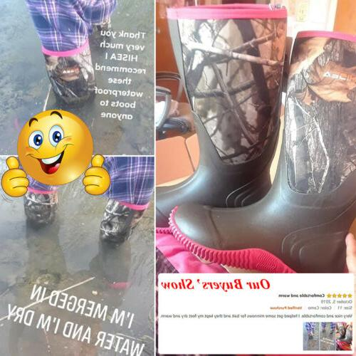 HISEA Women's Boots Rain Snow Work Boots Fishing