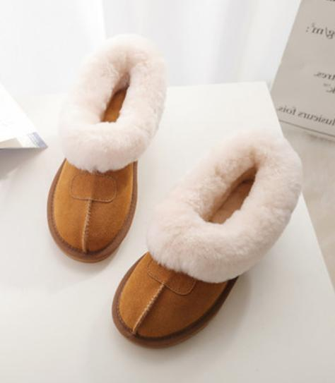 Women's Faux Lining Flats Pull On Warm Ankle Snow Boots