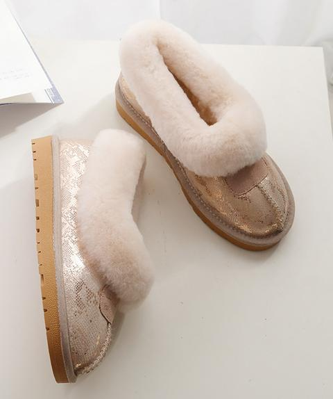 Women's Faux Fur Flats Warm Booties Ankle Boots shoes