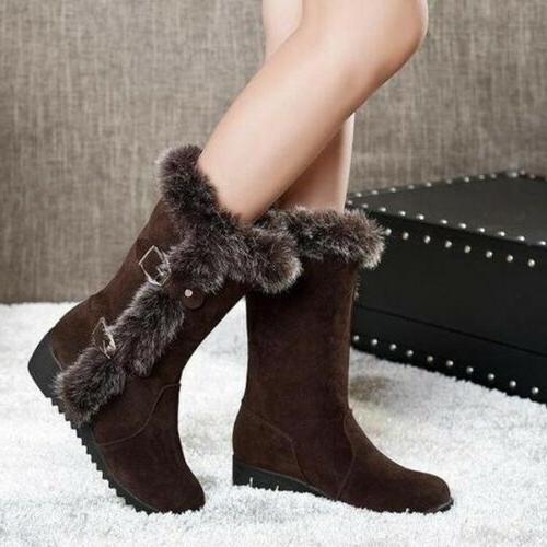 Fashion Women Wedge Heel Snow Boots Fur Lined Winter Warm Bu