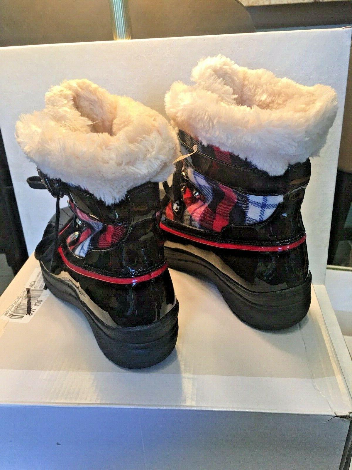 Anne black/red snow/rain boots size 10