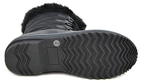 DREAM Women's Black Mid Calf Snow Boots 10 M
