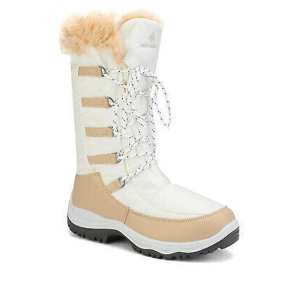 DREAM PARIS Women Rubber Fur Winter Warm Mid Calf Snow Boots