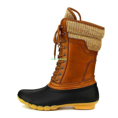 New Women's Snow Duck Boots Rubber Hiking Lace Booties