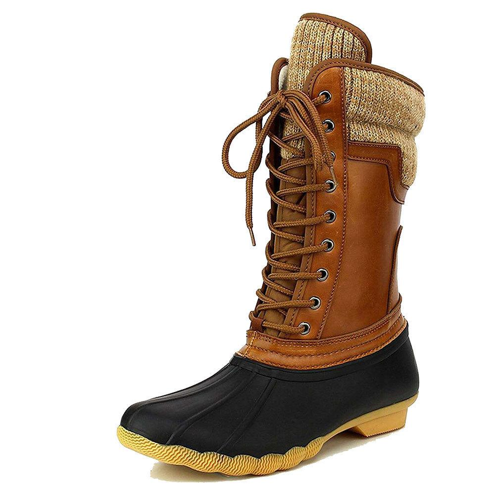 Women's Rubber Duck Winter Snow Lace Up Booties Hot