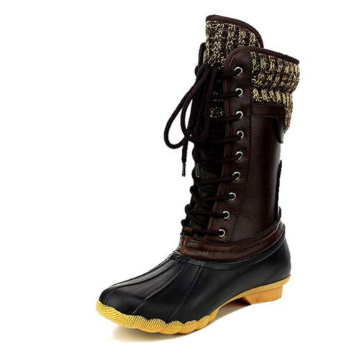 Women's Rubber Duck Winter Snow Lace Booties Hot