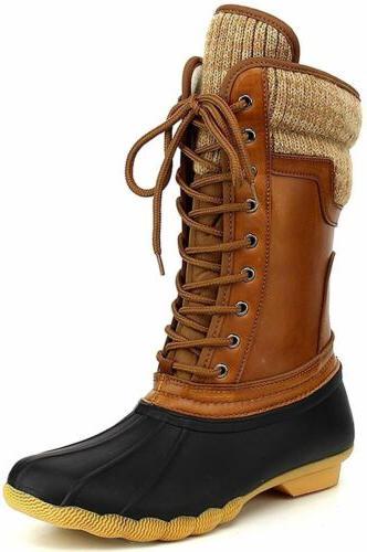 Women's Waterproof Rubber Warm Hiking Snow Rain Winter Lace Up Duck Boots